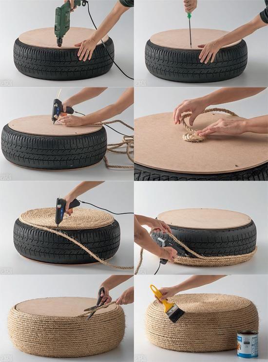 puffs y mesitas con neumáticos